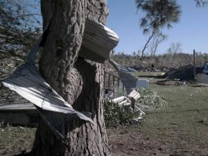 Storm damage in the Colerain community in Bertie County (Photo courtesy of WAVY-TV)