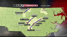 three tornado tracks April 16, 2011