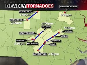 The National Weather Service mapped three tornado tracks across central North Carolina on April 16, 2011.
