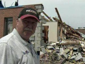 "Buddy Strickland's real estate, insurance, plumbing and construction business on Park Avenue in Roanoke Rapids crumbled to ""nothing but bricks and sticks."""