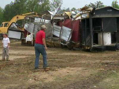 The Thomas family farm in Lee County suffered major damage from a tornado on April 16, 2011.