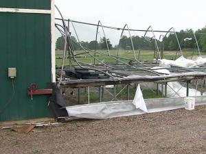 Greenhouses were damaged by wind in Rolesville.