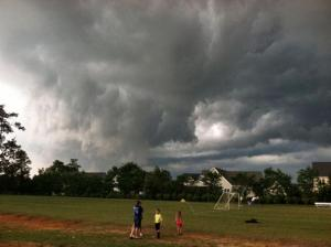 Bulky clouds loomed over Zebulon Saturday
