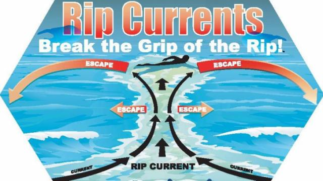 Rip Current Awareness sticker from NOAA and the U.S. Lifesaving Association.