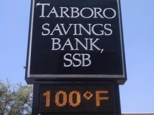 A bank's sign shows that it hit 100 degrees in Tarboro on Wednesday, June 8, 2011.