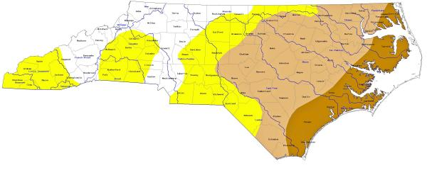 NC drought monitor report as of June 9, 2011
