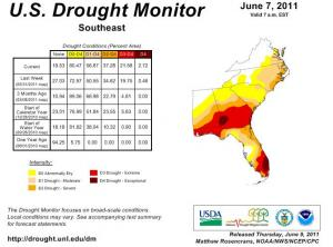 U.S. Drought Monitor for the Southeast ending June 7, 2011. The eastern half of North Carolina now shows moderate to severe drought (worst along the coast), while southern parts of GA, AL and FL are in extreme to exceptional drought.