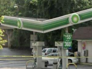 Rain pooled on a gas station canopy in Wake Forest Thursday, causing it to buckle. No one was injured.