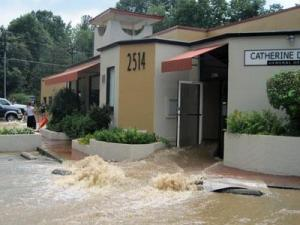 A look at flooding at the Rockwood Building on University Drive in Durham on July 8, 2011.