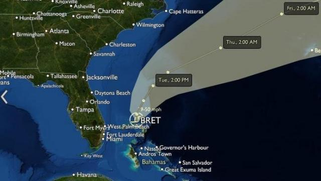 "Tropical Storm Bret position and forecast from the interactive map in the ""Hurricanes"" section of wral.com - forecast positions and fan of uncertainty from the National Hurricane Center."