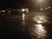 Flood waters block Rocky Mount mobile home park