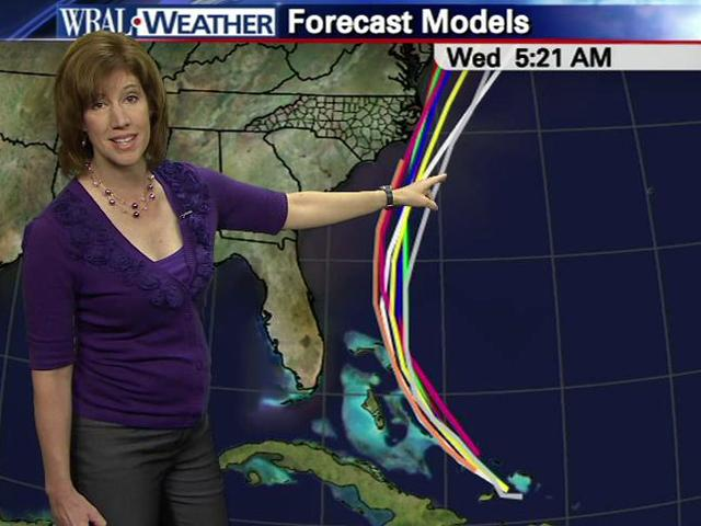 The forecast tracks from various computer models for Hurricane Irene as of 5 a.m. on Aug. 24, 2011.