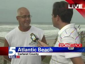 Bryan Mims interviews Atlantic Beach resident Sam O'Berry, who plans to stay and experience Hurricane Irene