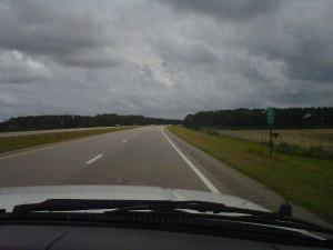 This is how a news crew sees a hurricane. Reporter Erin Hartness sent this picture to show that she and photographer Pete James are the only ones on U.S. Highway 64 heading into the Outer Banks.
