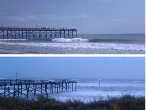 Before and after photos of Sheraton pier at Atlantic Beach