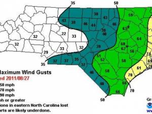 Analysis of top wind gusts from Hurricane Irene, supplied by the National Weather Service Forecast Office in Raleigh.