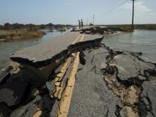Crews continue to work in Rodanthe to repair N.C. Highway 12, damaged from Hurricane Irene in August.
