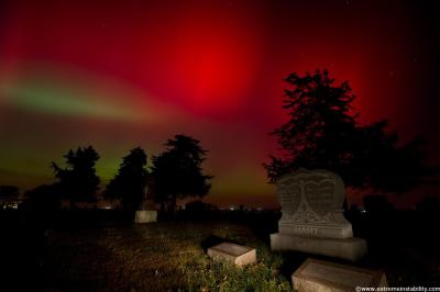 Aurora photo taken on Oct 24, 2011 by Mike Hollingshead in Blair, NB. Larger version available through Spaceweather.com.