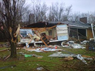 A couple survived an apparent tornado by going into the the basement of their home on Hedrick Mill Road in Davidson County on Nov. 15, 2011.