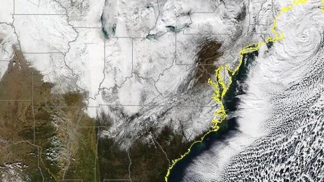 Satellite image from Dec 27, 2010 showing snow on the ground across NC. Significant snow fell across northwestern parts of the state on Christmas Day, followed by a second round of snow, heaviest over the coastal plain, on Dec 26th.