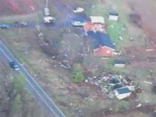 Aerial: Storm damage in western NC