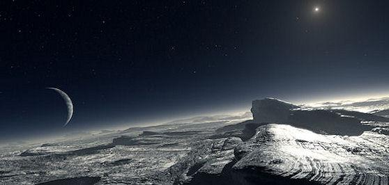 Artist concept of frosty Pluto (credit: Credit: ESO/L. Calçada)