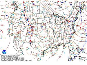 Surface weather analysis for 1 pm on Saturday Feb 11, 2012, showing an arctic high pressure system spreading across the central and eastern U.S., and pushing a sharp cold front eastward across central NC.