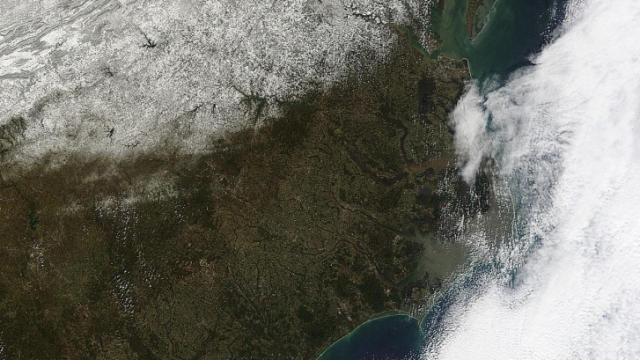 MODIS image of snow over NC and the Virginias around mid-morning on Monday Feb 20, 2012.