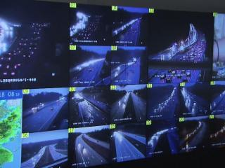 A wall of monitors offers weather and traffic data at the State Emergency Operations Center in Raleigh.