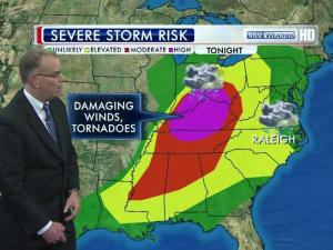 WRAL meteorologist Mike Maze shows chance for severe storms Friday in the Triangle and to the west.