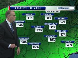 Rain is almost a certainty in Raleigh on Saturday morning.
