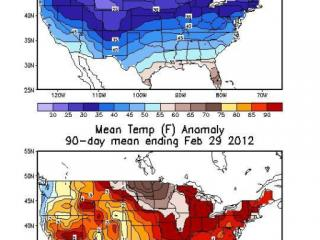 Climate Prediction Center maps of the mean temperature and temperature departure from normal for the winter of 2011-12, showing a large part of the U.S. with above normal readings.