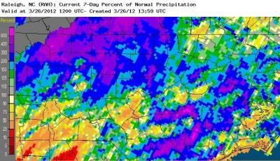 Estimated percentage of normal precipitation across central NC for the 7 days ending 8 AM March 26, 2012.