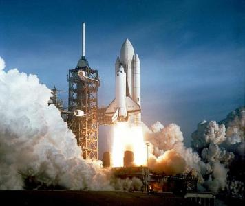 STS-1 launches on the anniversary of Gagarin 's flight (Courtesy: NASA)