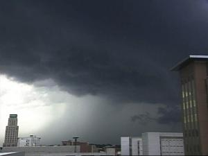 WRAL's Durham SkyCam shows ominous clouds on the horizon Tuesday afternoon as thunderstorms rolled through the area.