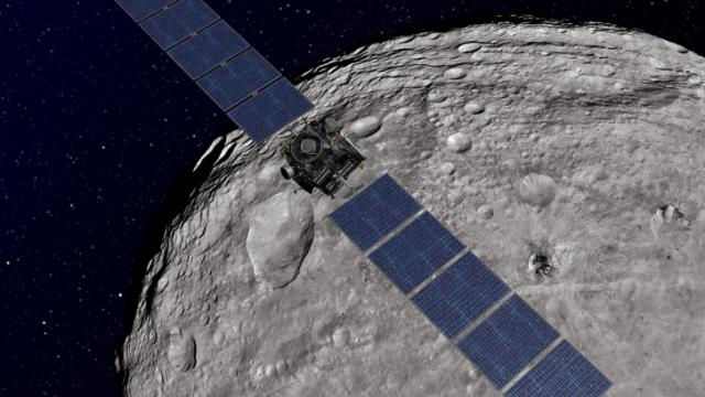 Dawn spacecraft at Vesta (Courtesy NASA/JPL)