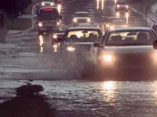 Heavy rainfall makes roads dangerous