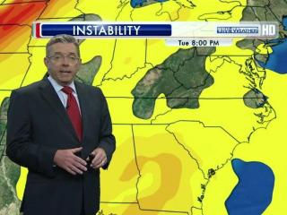 WRAL Chief Meteorologist Greg Fishel shows the range of instability in the atmosphere through Tuesday night, May 22, 2012.