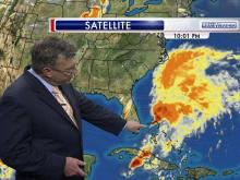 A low-pressure system that was gathering momentum Thursday as it churned off the Florida coast could bring complications to beachgoers over Memorial Day weekend, said WRAL Chief Meteorologist Greg Fishel.