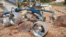 Curiosity's twin undergoes test in the Mars Yard on the JPL campus.
