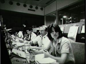 Sally Ride serving as CAPCOM during STS-2 (Credit NASA/JSC)