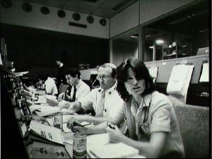Sally Ride serving as CAPCOM during STS-2 (Credit NASA/JSC)