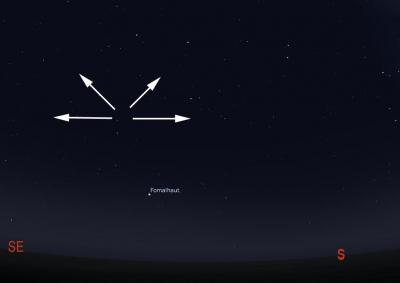 Delta Aquarids radiate from the constellation aquarius above the star Fomalhaut  (Credit: Rice/Stellarium)