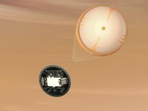 The Mars rover Curiosity uses the largest parachute designed for planetary use (Photo credit: NASA/JPL)