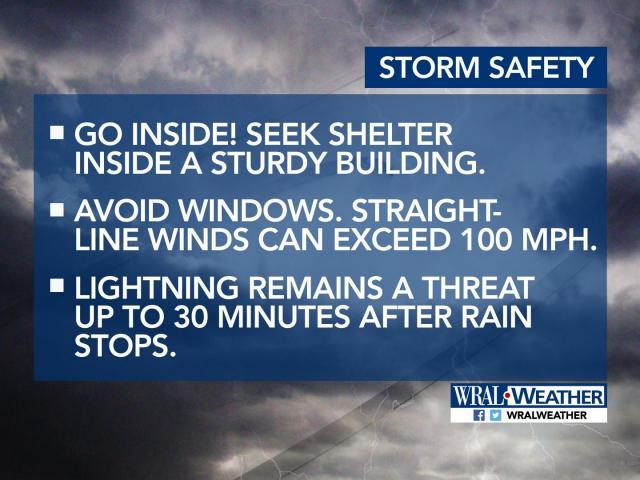 Go inside! Seek shelter inside a sturdy building. If you can hear thunder, lightning strikes are close enough to post a danger. Avoid windows. Straight-line winds can exceed 100 mph. Lightning remains a threat for up to 30 minutes after rain stops.