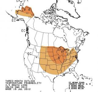 Temperature outlook from the Climate Prediction Center for the Oct-Dec period. Much of NC is given an equal chance of above normal, near normal or below normal temperatures then.