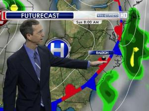 Sunday will be another warm, humid day, and the chance for showers and thunderstorms appears to have moved east toward the Carolina coast, WRAL meteorologist Mike Moss said.