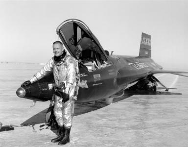 Neil Armstrong flew the rocket-powered X-15 as a test pilot before his astronaut days (Credit: NACA High Speed Flight Research Station)