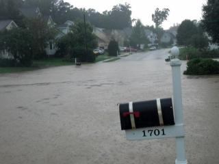 Thought I would share pics of the rains this afternoon. Thankfully we didn't flood, but it was close. This is in the Dover Ridge Subdivision in Northern Durham.