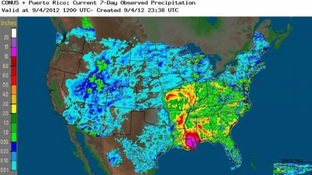 Rainfall estimate, based on a combination of radar and gauges, for the 7 days ending at 8 AM Tuesday Sep 4, 2012.